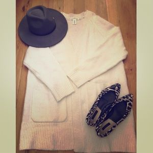 H&M white long knitted cardigan NWOT